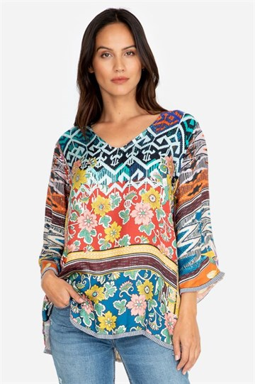 JOHNNY WAS - C15319B6 - FABIANA TOP - MULTI COLOUR